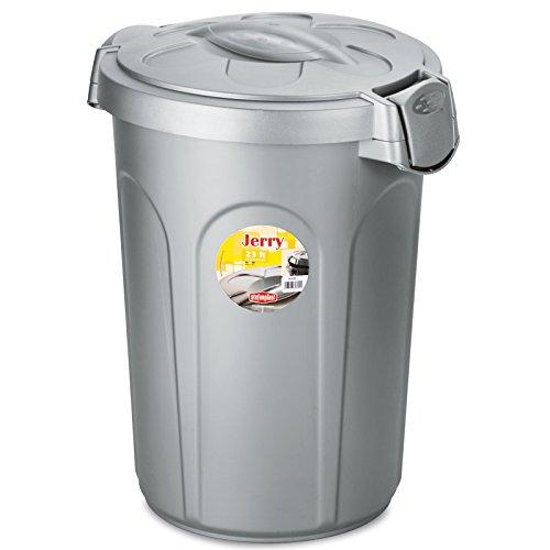 Mülleimer 23 Liter in silber mit verschließbarem Klick - Deckel • Mülltonne Abfalleimer Eimer Papierkorb Abfallkorb Recycling 23L