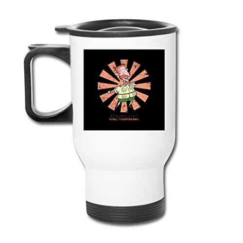 Nigel Thornberry Retro japonés Wild Thornberrys 16 oz Vaso de acero inoxidable de doble pared taza de café al vacío con tapa a prueba de salpicaduras para bebidas calientes y frías