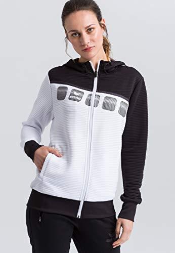 Erima Damen 5-C Trainingsjacke mit Kapuze, weiß/Schwarz/du, 36