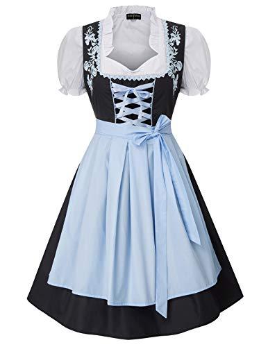 Womens Oktoberfest Clothing 3Pcs Traditional Bavarian Dirndl Dress Blue Medium