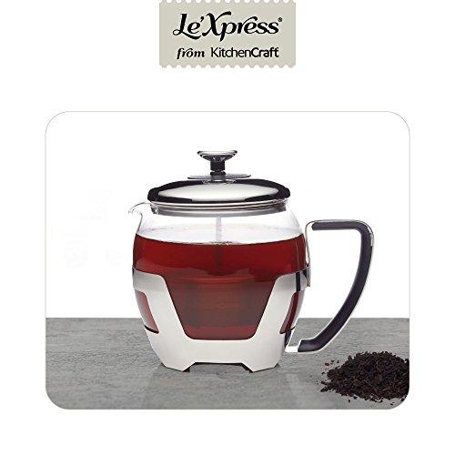 KitchenCraft Le'Xpress 5-kops glazen theepot met roestvrijstalen fuser, 1 liter (1.75 pints) - Transparant