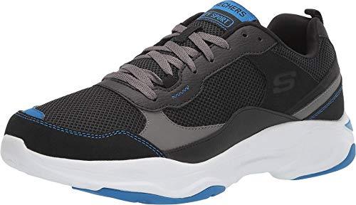 Skechers Hombre Zapatos Shine Box Ante/Tejido Negro Zapatillas