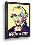 Quadro Decorativo Poste Immanuel Kant Filósofo.Livros Retro