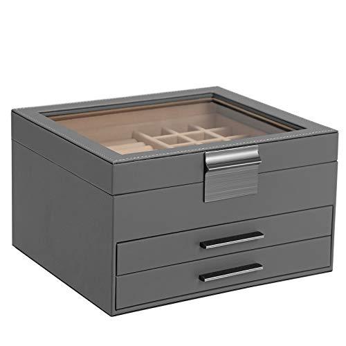 SONGMICS Schmuckkästchen mit Glasdeckel, Schmuckkasten mit 3 Ebenen, Schmuckbox mit 2 Schubladen, Schmuckaufbewahrung, Geschenk für Ihre Liebsten, grau JBC239GY