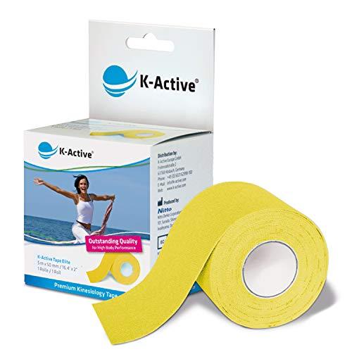 K-Active Kinesiologisches Tape Elite I Starkes und sanftes K-Active Tape für Schulter, Rücken, Nacken, Knie I Ein vielseitiges kinesiologisches Tape für Sport und Freizeit Singlebox 5 cm x 5 m (gelb)