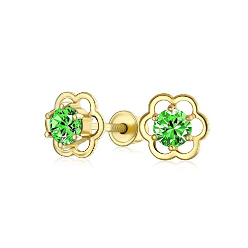 Minimalista pequeño verde CZ abierto flor pendientes para adolescente cúbico Zirconia simulado esmeralda 14K oro real atornillado