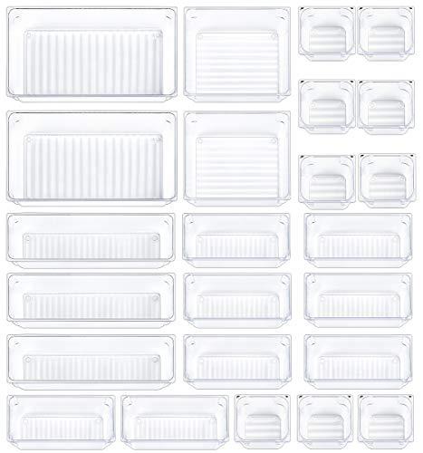 Mebbay 24 Pcs Drawer Organizer Bathroom Desk Clear Drawer Trays Versatile Drawer Dividers 5 Size Storage Bins for Utensil Dresser Office Kitchen