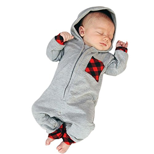 style_dress Strampler, Baby Plaid Kleidung Set Neugeborene Jungen Mädchen Jumpsuit Langarm Hooded Strampler Overall Tops Bodysuit Outfits Jumpsuit Spielanzug Set (Grau, 6-12 Monate)