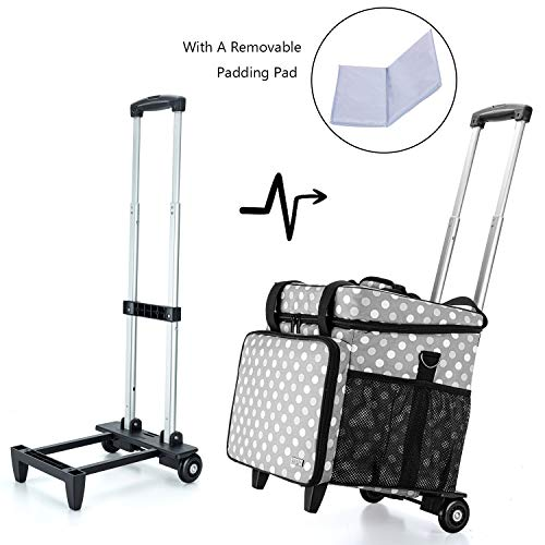 Luxja Overlock Sewing Machine Case with Detachable Trolley Dolly, Serger Case with Accessories Storage Pockets (Fit for Most Standard Serger Sewing Machines), Gray Dots