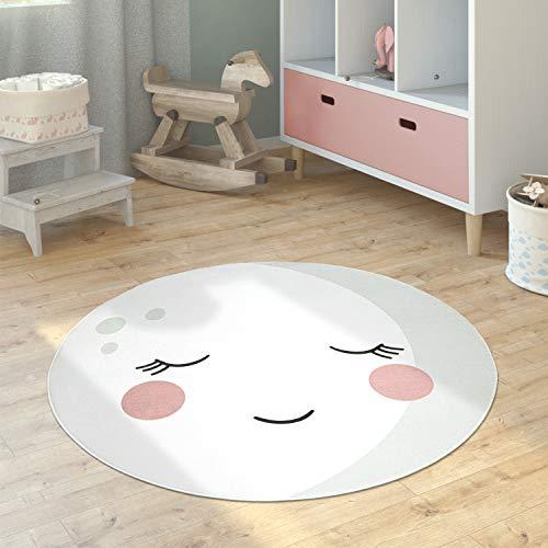 Paco Home Kinderteppich Teppich Kinderzimmer Rund Spielmatte Babymatte Mond Koala Löwenkopf, Grösse:150 cm Rund, Farbe:Creme