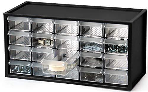 livinbox A9-520 Kleinteilemagazin Sortimentskasten, 20 Schubladen, Kunststoffrahmen, transparente Schubladen, Schreibtischteile Hardware und Handwerk , Aufbewahrungsbox mit 20 Schubladen Schwarz