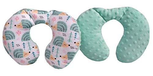 Medi Partners Almohada Cervical para niños 100 % algodón Minky Baby Almohada Cervical para Coche Cochecito Viaje Dormir Almohada Cervical Almohada (Erizo Menta con minzer Minky)