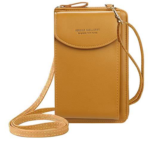 ZhengYue kleine Crossbody Tasche Handy - Tasche Brieftasche mit Credit Card Slots für Frauen Braun
