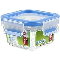 Emsa Clip & Close Conservador Hermético de Plástico Cuadrado, higiénico, no retiene olores ni sabores 100% Libre de BPA, Transparente y Azul, 0,25 L