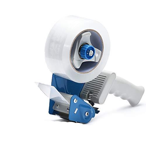 Packing Tape Dispenser Gun, Pacific Mailer 2 Inch Tape Gun Dispenser with 2 Inch Carton Packing Tape, Lightweight Industrial Side Loading Tape Dispenser - Blue