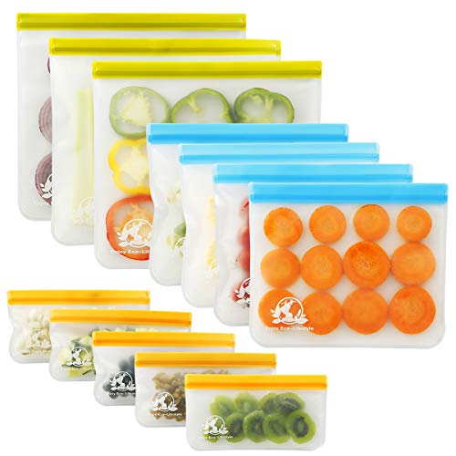Lumirio 12 Pack Reusable Silicone Food Bags Sandwich Bags for Snack Fruit Vegetable Meat Cereal Lunch12 Multicolor