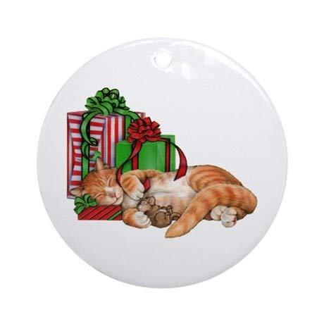 JeremyHar75 Décoration Ronde en céramique pour Sapin de Noël Motif Chat et Souris
