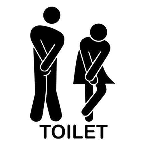 EROSPA® Türaufkleber Wandaufkleber Sticker Toilet - Toilette WC - Schwarz