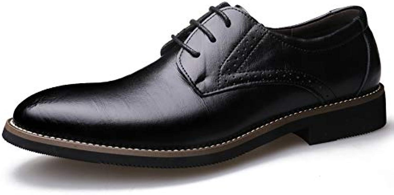 LOVDRAM Men'S Leather shoes Autumn shoes Dress Men'S shoes Business shoes Men'S Leather Lace-Up shoes