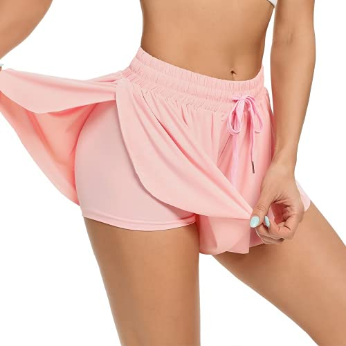 ABUCIYO Women's High Waist Stretch Athletic Workout Fitness Shorts 2 in 1 Running Double Layer Sports Shorts (Large,Pink)