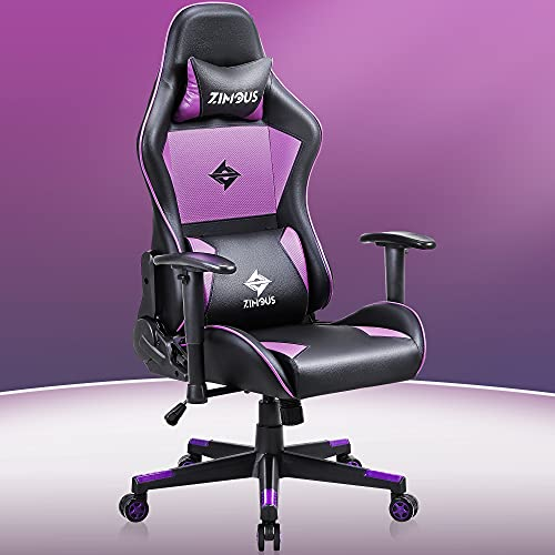 Zimous Gaming Chair with Massage Lumbar Support Ergonomic Compeuter Game Chair 350 lbs High Back Game Office Chair PU Leather Swivel Recliner Desk Chair with Headrest and Adjustment Armrest Purple