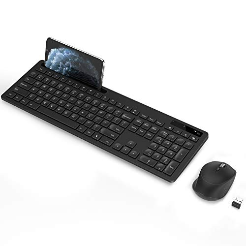 Wireless Keyboard and Mouse, seenda 2.4GHz Silent USB Wireless Keyboard Mouse Combo with Numeric Keypad for Computer, Desktop, PC, Laptop, Surface, Smart TV and Windows 10/8/ 7 - Black