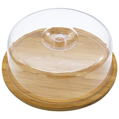 Quesera Redonda con Tapa de Plastico – Caja Queso Madera de Bambú – Ideal para Conservar Frescos tus Quesos - Diámetro Ø 30cm