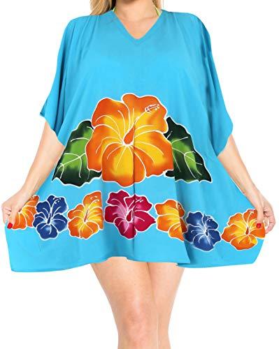 LA LEELA Strandkleid Damen Strandkleider Damen Sommer Bikini Badeanzug Cover Up Strandponcho Beachtime Strandkleid Damen Strandurlaub Türkis_L280 DE Größe: 42 (L) - 46 (XL)