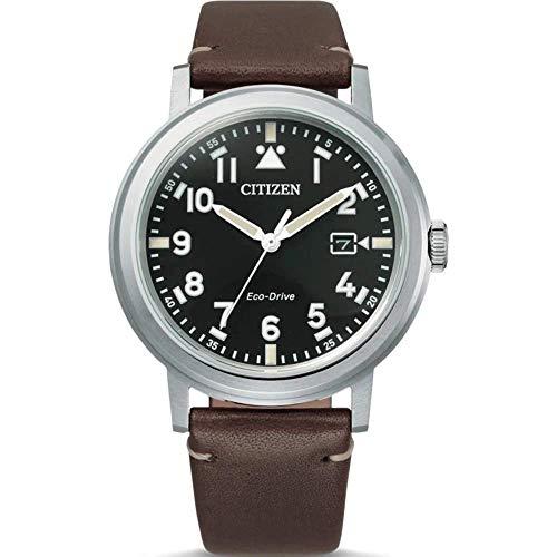 Ciudadano slo Reloj Hombre Correa de Cuero marrn quadr. Negro AW1620-21E