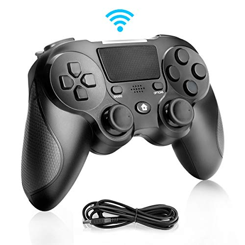 Zwini Contrôleur sans fil pour PlayStation 4, contrôleur de jeu à double vibration 4 PS4 Contrôleur de jeu Bluetooth rechargeable par USB Manette de jeu joystick ultra-sensible
