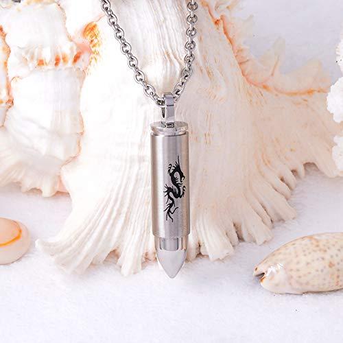 TIANZXS Collar con Colgante de Recuerdo de Ceniza Conmemorativa de dragón Chino para Hombre, urna para Mascotas, urna para Perros, joyería de cremación, medallón de ataúd funerario