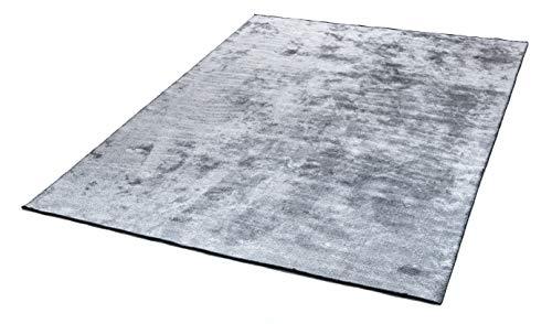 mimilos Alfombra de pelo corto para salón, decorativa, algodón y viscosa, alfombra para vivienda moderna, alfombra decorativa para dormitorio, comedor, habitación de los niños (gris, 160 x 230 cm)