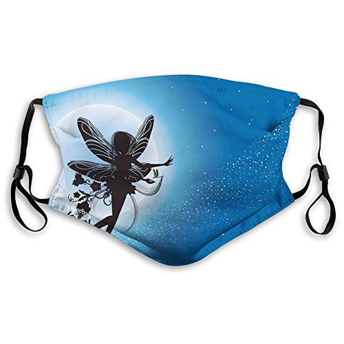 Windproof Activated Carbon mask, Flying Fairy Silhouette in The Night Sky Dreamy,Facial decorations for adults (M)