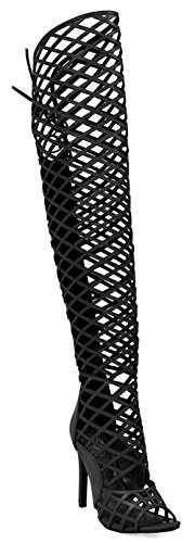 Cr Elnora Gladiator Open Toe Lace Back Full Zipper Thigh High Stiletto Heel Boot Black 8.5