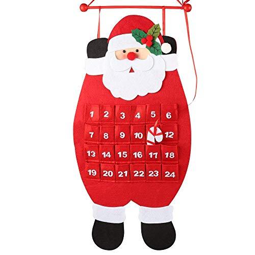 Cozyhoma Calendario de Adviento de Fieltro de Santa 2018 con Cuenta atrás para Navidad en Interiores y Decoraciones de Navidad, Rojo y Blanco