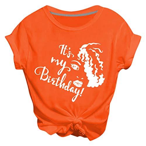 Kledbying T-Shirt Women Letter Print Short Sleeve T Shirt Round Neck Soft Comfortable Summer Tee Tops Orange