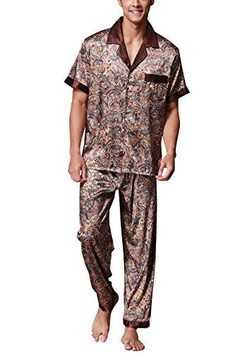 Dolamen Herren Schlafanzug, Satin Retro Druck Lang Zweiteiliger Pyjamas Frühling Sommer, Herren Schlafanzug mit Überprüfen Sie geknöpftes Hemd Kragen mit Tasche L XL XXL (Large, Braun)