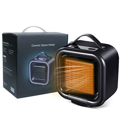 Radiateur de ventilateur portable 1000 W, chauffage de bureau PTC en céramique de vitesse petit ménage silencieux mini chauffage et refroidissement pour bureau, maison, chambre à coucher