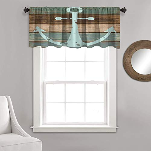 """Kitchen Curtain Nautical Anchor Rustic Wood Thermal Insulated Blackout Valance Curtain 1 Panel 36"""" x 18"""" ,for Bedroom, Kitchen, Living Room"""