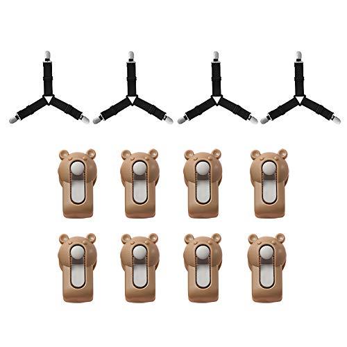 Amecty 8-Teilige Steppdecken-Bettbezüge + 4-Teilige Dreieckige Bettlaken, Hochelastische rutschfeste Bettdeckenhalter für Steppdecke, Handtuch, Vorhang, Socken