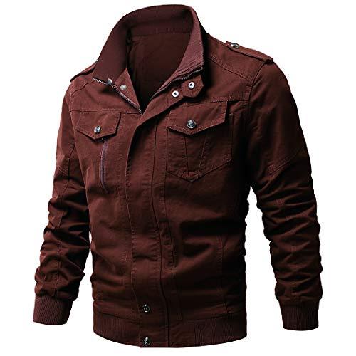 WULFUL Men's Cotton Military Jackets Casual Outdoor Coat Windbreaker Jacket … Retro Red