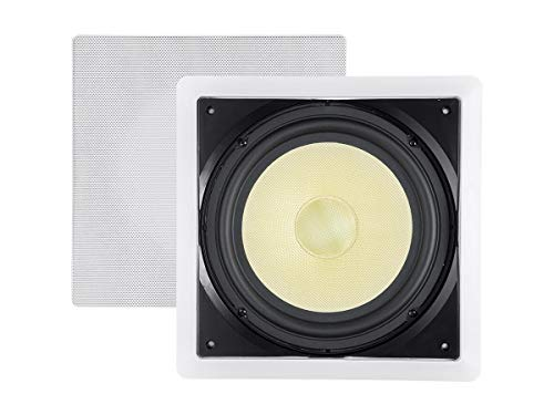 Monoprice Fiber in-Wall Speaker - 10 Inch (Each) 300W Subwoofer, Easy Installation and Paintable Grill - Caliber Series