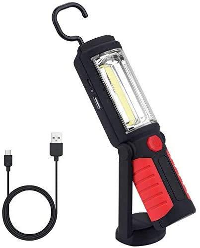 Linterna de Trabajo Recargable QEENLO Portátil COB LED Lámpara de Inspección con Gancho Colgante y Soporte Magnético para Hogar, Taller, Automóviles, Camping, Emergencia