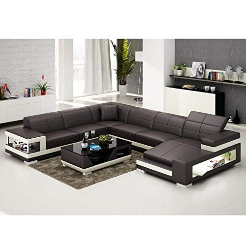 Winpavo Sofas & Sofas Sofa Corner Sofa Set Italienische Art Couch Wohnzimmer Leder Ecksofa-D