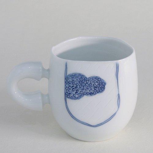 Mug Tasse Thé Bol Collection Art Asie Porcelaine blanche et bleue NUAGE