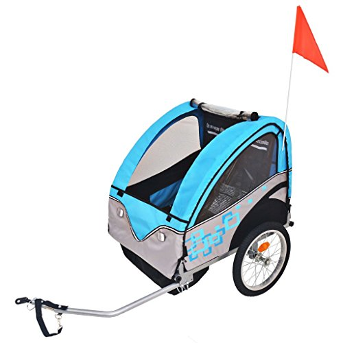 vidaXL Remolque de Bicicleta para Niños Gris Azul 30 kg Carrito Bici Infantil