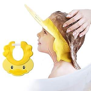Gorro de ducha para niños, champú de lavado de cabello para ojos orejas y cara ajustable Baby Bath Visor silicona Water Guard Sombreros para niños pequeños, más de 6 meses lindo pato amarillo