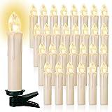 20/30/40er LED Lichterkette Kabellos Weihnachtskerzen Christbaumschmuck Weihnachtsbaumbeleuchtung 40*milchweisse Hülle