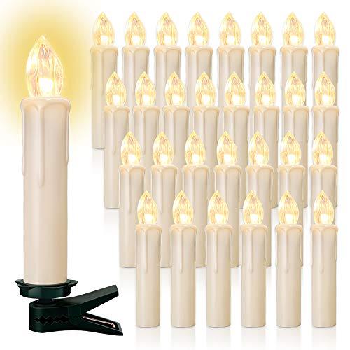 20/30/40er LED Lichterkette Kabellos Weihnachtskerzen Christbaumschmuck Weihnachtsbaumbeleuchtung 30*milchweisse Hülle