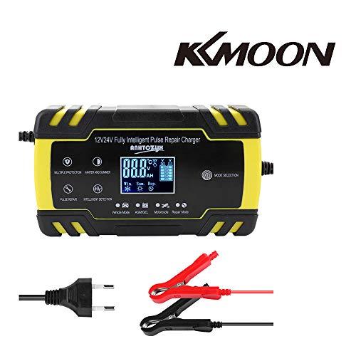 KKmoon Caricabatteria Mantenitore Auto di Carica 12V/24V Multi Protezioni Caricatore Intelligente Automatico con Schermo LCD